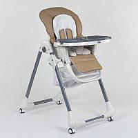 Стульчик для кормления Toti CB-2060 (1)  мягкий PU, мягкий вкладыш, 4 колеса, съемный столик, в коробке