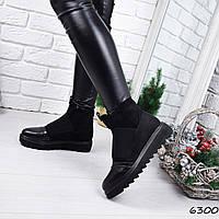 Ботинки женские Strong черные замша + кожа 6300 ДЕМИ, фото 1