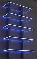 Стеклянные полочки с подсветкой