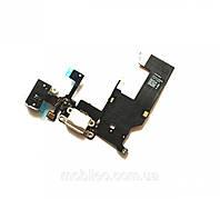 Шлейф (Flat, Flex cable) Apple iPhone 5 с гнездом зарядки и компонентами, белый