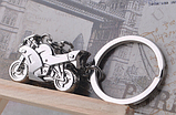 Брелок на ключи спорт мотоцикл гонщик металлический серебристый, фото 4