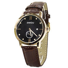 Часы для мужчин SWIDU SWI-018 2 циферблата нержавеющие кварцевый механизм Brown + Black (3088-8772)