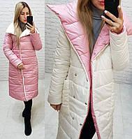 Куртка одеяло демисезон двухсторонняя арт. 1006 пудра + белый / белый с розовым, фото 1