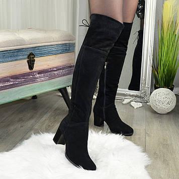 Ботфорты замшевые женские на устойчивом каблуке, цвет черный