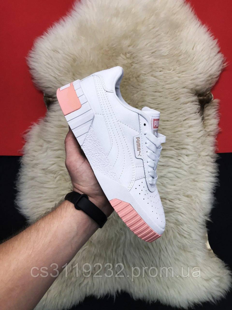 Женские кроссовки Puma Cali White Pink (белые)