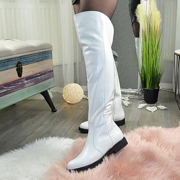 Ботфорты кожаные женские на утолщенной подошве, цвет белый