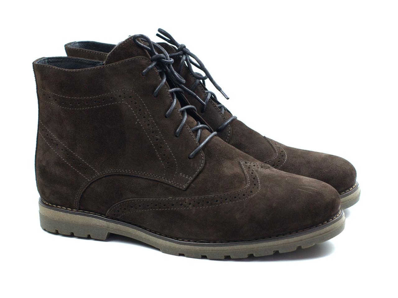 Зимові черевики коричневі замшеві чоловіче взуття Rosso Avangard Whisper Brogue Brown
