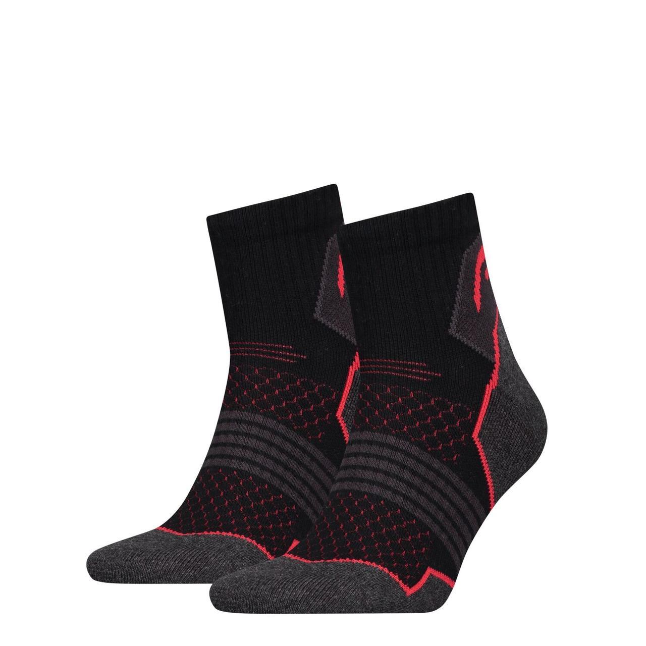 Носки Head Hiking Quarter Unisex 2-pack black/red