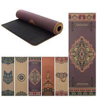Профессиональный коврик для йоги с принтом, двухслойный: ткань + резина, 173 см × 61 см, толщина 6 мм