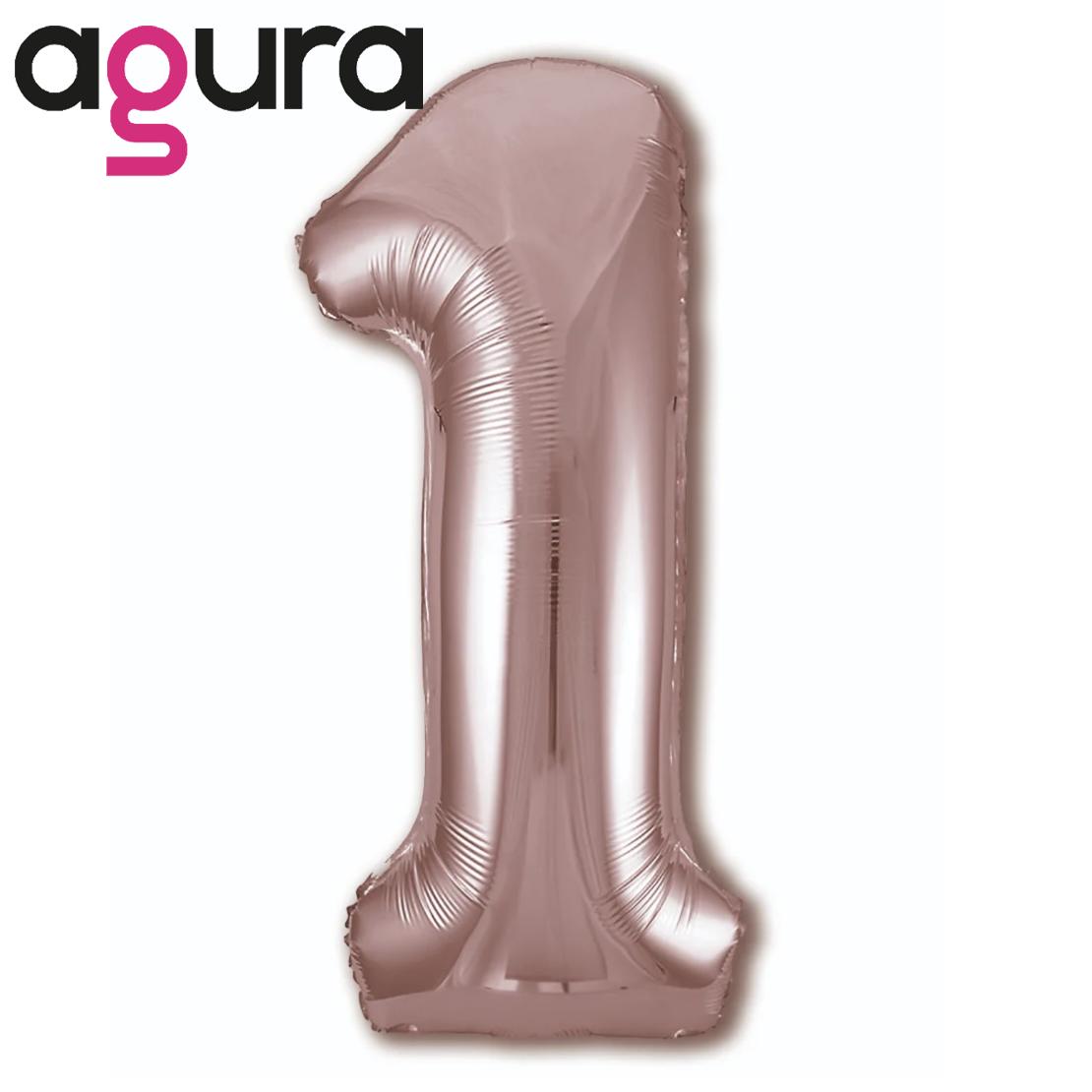 Фольгированная цифра 1 (40') Agura Slim розовое золото в упаковке, 102 см