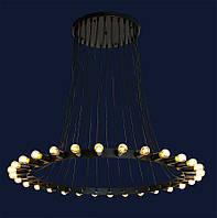 Большая металлическая люстра с кругом на 30 лампочек 761YDT30-30 BK