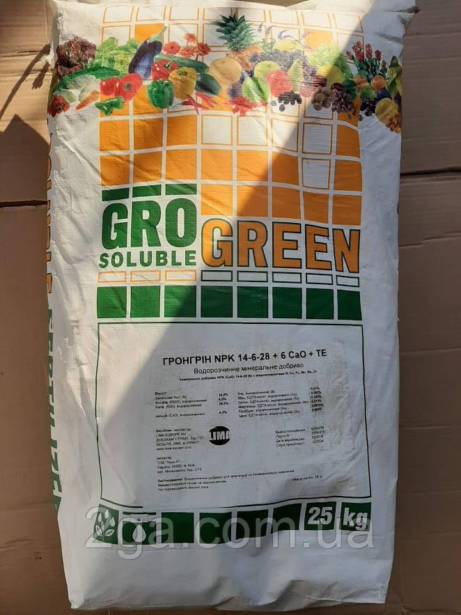 ГроГрин GroGreen 14-6-28 + 6CaO + TE Удобрение  25 кг