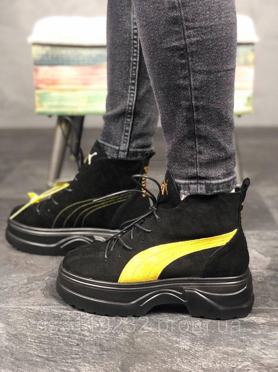 Жіночі черевики Puma Spring Boots Black Yellow чоботи (чорні)