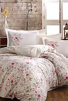 Евро размер. Ткань: поплин. Постельное белье усыпанное нежными цветами на белом фоне.