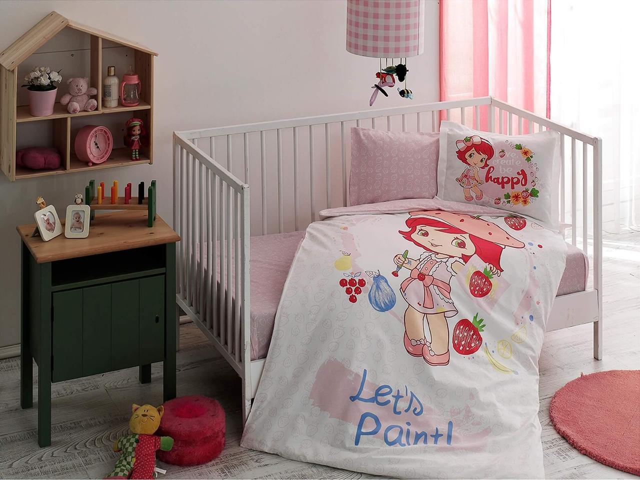 Комплект постельного белья в кроватку TAC Strawberry Shortcake Paint Ранфорс