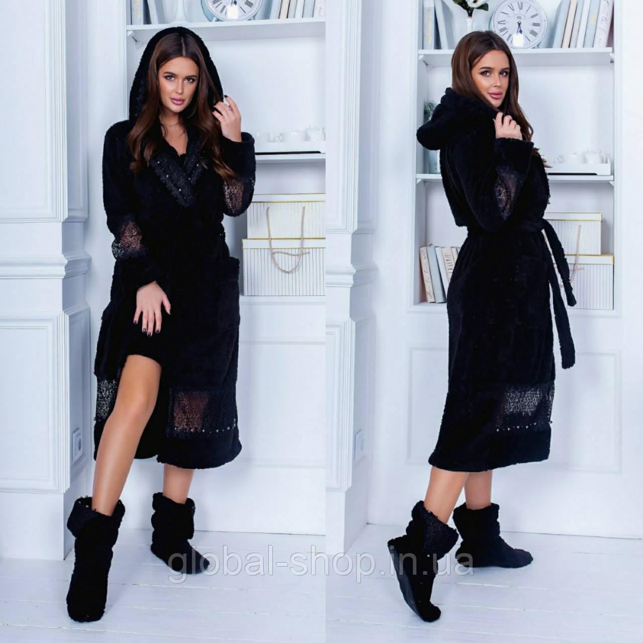 Женский махровый халат длинный черного цвета, ткань турецкая пушистая махра , Размер 42\48 , код 0209