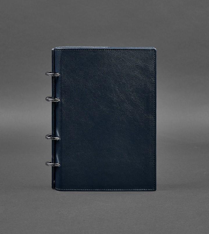Блокнот кожаный на кольцах, софт-бук синий в твердой обложке (ручная работа)
