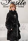 Шуба Норковая Сине-Черная 100 см Канадская Стойка Под Пояс 100/110 0563ЕИШ, фото 9
