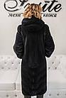 Шуба Норковая Темно-Синяя 110 см Канадская С Капюшоном 110/110 0570ЕИШ, фото 10