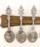 Комплект оловянных ложек на деревянном подвесе, ANNO DOMINI, олово, Германия, фото 3