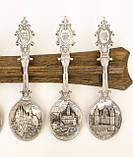 Комплект оловянных ложек на деревянном подвесе, ANNO DOMINI, олово, Германия, фото 4