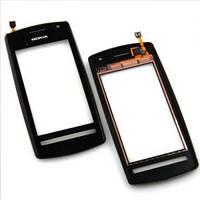 Оригинальный тачскрин / сенсор (сенсорное стекло) с рамкой для Nokia N600 (черный цвет)