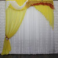 Ламбрекен с шторкой из шифона. Модель №111 Цвет желтый с белым