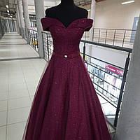 Выпускное Вечернее коктейльное платье цвета марсала со спущеными плечами на корсете