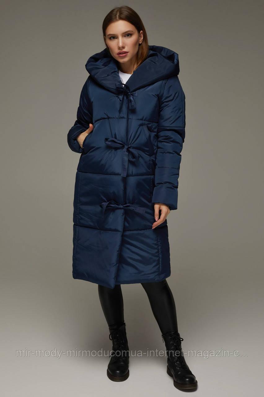 """Зимнее женское стеганое пальто с капюшоном  """"Алеся""""   с 42 по 54 размер (девис)"""