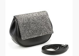 Маленькая женская сумочка через плечо JACOB в расцветках. черный пелле/ и серый глиттер