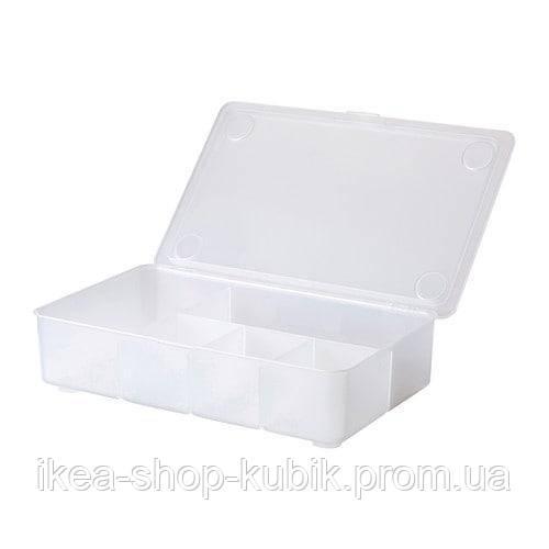 ИКЕА ГЛИС Коробка с крышкой, прозрачный, 34x21 см