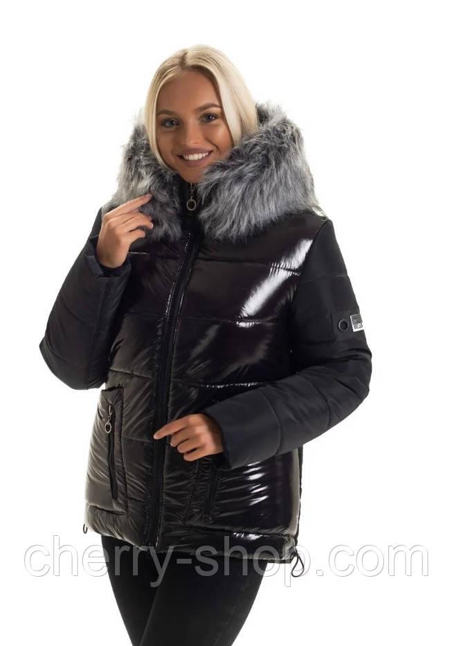 Модная чёрная зимняя куртка в размере 44-50
