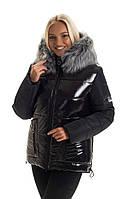 Модная чёрная зимняя куртка в размере 44-50, фото 1