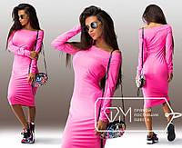 Красивое элегантное облегающее розовое платье-миди с длинным рукавом. Арт-3247/23
