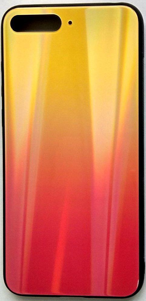 """Силиконовый чехол """"Стеклянный Shine Gradient"""" Huawei Y6 2018 (Sunset red) # 5"""