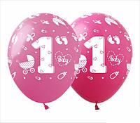 """Кульки повітряні з малюнком поштучно """"1 рік дівчинка"""" 12"""" (30см)"""