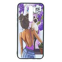 Чехол стеклянный с рисунком для Xiaomi Redmi Note 8 Pro | Чехол с рисунком девушки | Girls Case