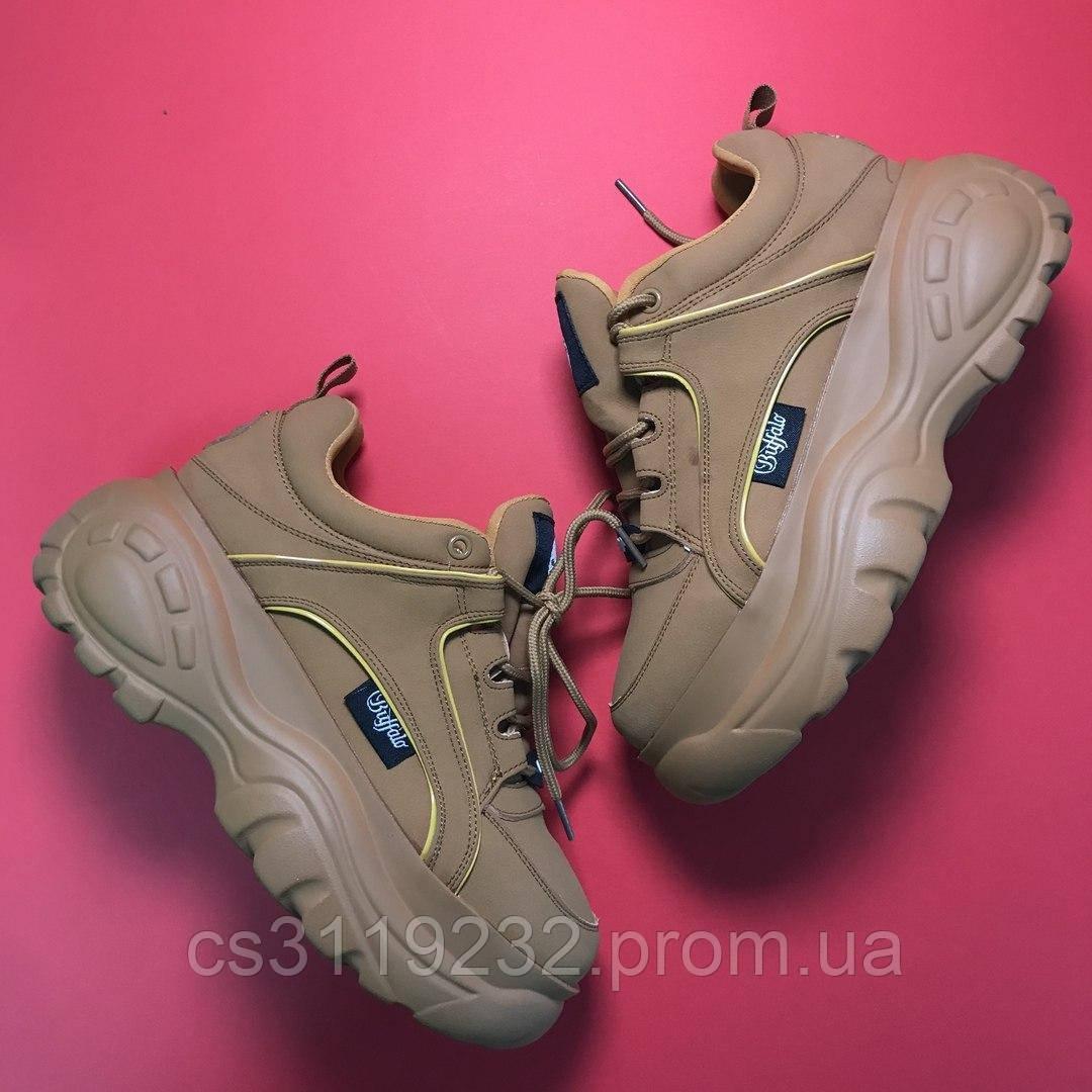 Женские кроссовки Buffalo London 1339 Brown (бежевые)