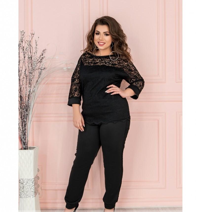 Нарядный костюм с блузой и брюками №202-черный