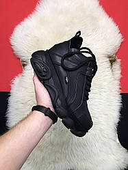 Женские кроссовки Buffalo London High Black Leather (черные)