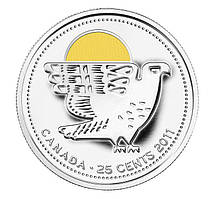 Канада 25 центів 2011, Сокіл Сапсан, кольорова КОЛ.ЕМАЛЬ