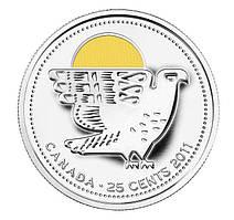 Канада, 25 центов 2011, Сокол Сапсан, цветная ЦВ.ЭМАЛЬ