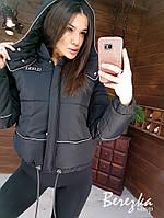 Короткая демисезонная женская куртка бомбер на молнии с капюшоном 6601243E, фото 1