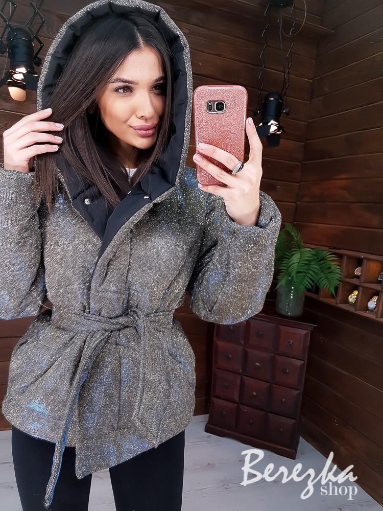 Женская демисезонная куртка хамелеон из блестящей плащевки люрекс 6601245E