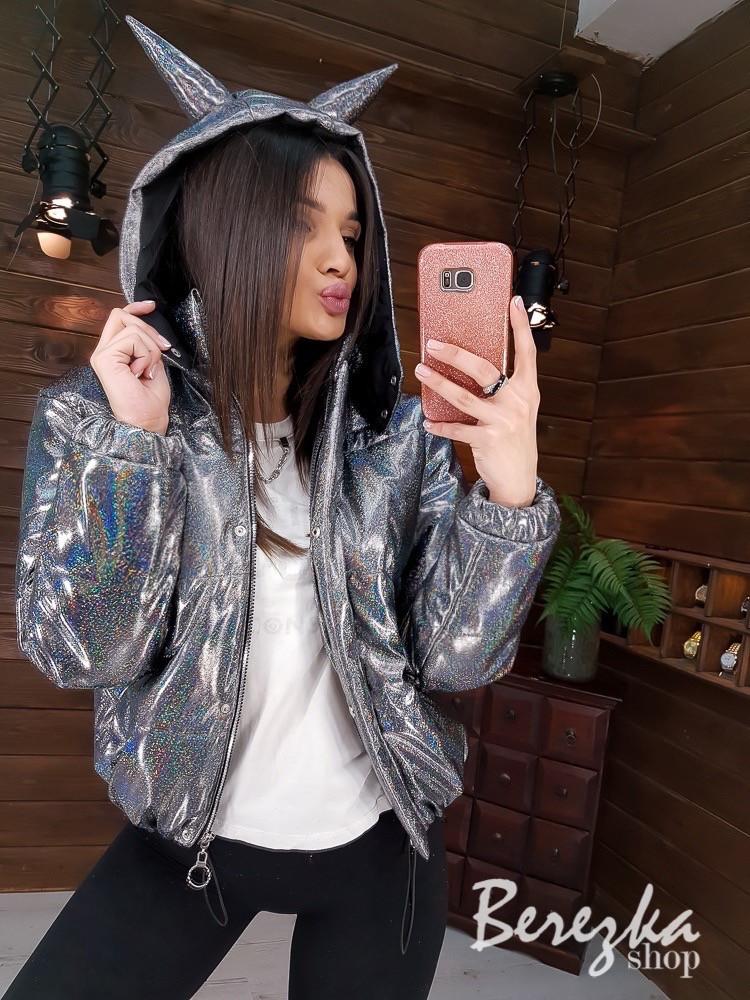 Женская блестящая куртка хамелеон короткая на весну 6601247E