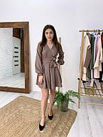 Платье с расклешенной юбкой и верхом на запах, рукава - фонарики 1703850, фото 1