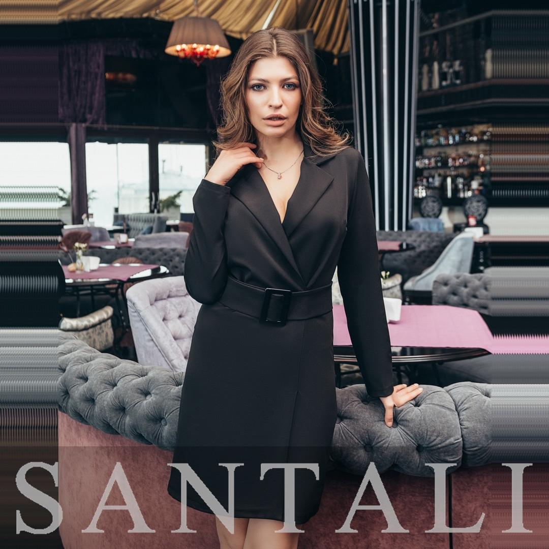 Платье пиджак с верхом на запах, поясом и длинным рукавом 4503853