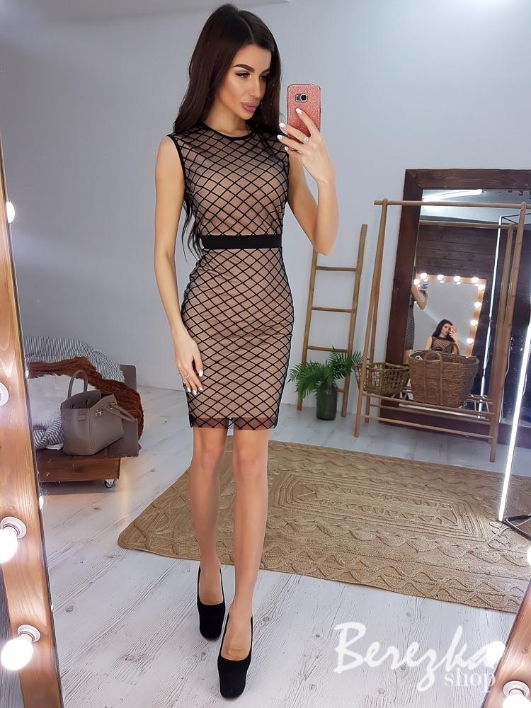 Платье футляр из сетки на подкладе без рукава 6603859Q