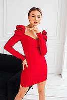 Облегающее платье с фигурным вырезом и рукавом фонариком 1403865, фото 1