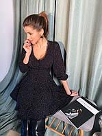 Платье в принт с U - вырезом, пуговицами спереди на груди и расклешенной юбкой 1403871, фото 1